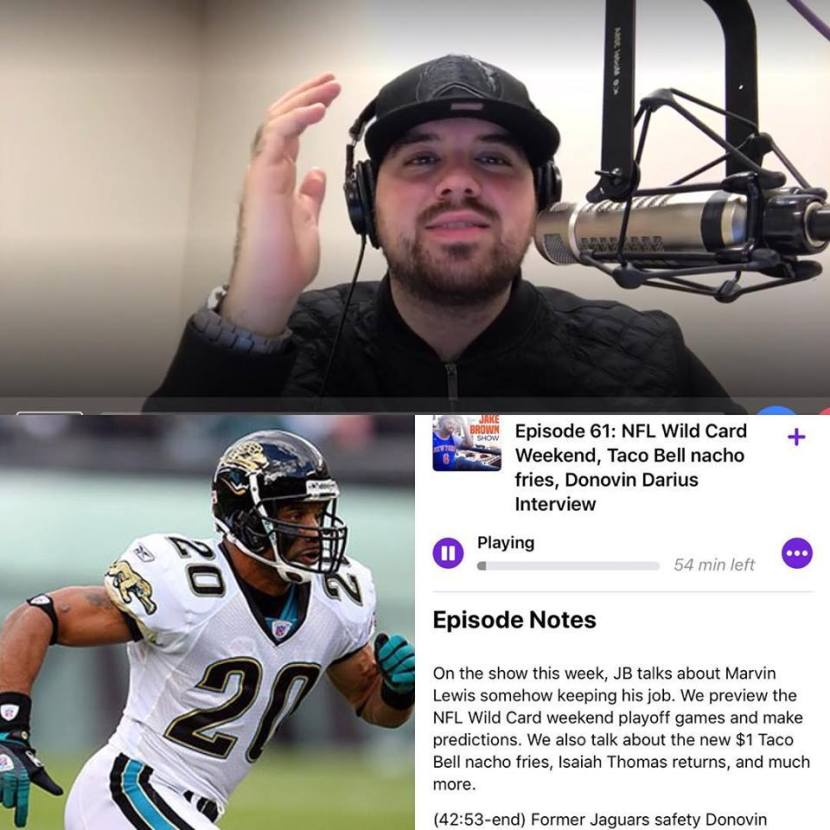 The Jake Brown Show: Former Jaguars Safety Donovin Darius interview, NFL Wild Card Weekend, Taco Bell $1 nacho fries (1/3/18)